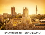 madrid skyline with palacio de... | Shutterstock . vector #154016240