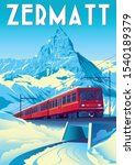 Zermatt Travel Poster With...