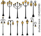 Vector Set Of Street Lamp Set