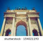 vintage looking arco della pace ... | Shutterstock . vector #154021193