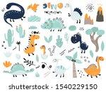 set of cute dinosauts  foliage  ... | Shutterstock .eps vector #1540229150