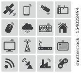 vector black wireless icons set   Shutterstock .eps vector #154023494