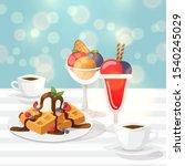 tasty desserts in cafe  vector...   Shutterstock .eps vector #1540245029