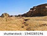 Karamay world ghost city, wind erosion landform. In Junggar basin, Karamay, Xinjiang, China