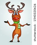 Funny Cartoon Red Nose Reindee...