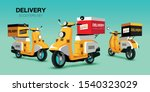 scooters set. old style... | Shutterstock .eps vector #1540323029