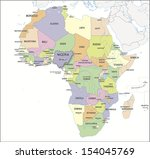 continental map of africa with... | Shutterstock . vector #154045769