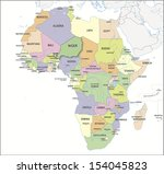 continental map of africa with... | Shutterstock . vector #154045823
