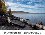 Shoreline of Lake Superior in the Upper Peninsula of Michigan in the Porcupine Mountains State Park in autumn