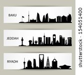 Skylines banners - vector illustration - stock vector