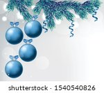 blue baubles with ribbon and... | Shutterstock .eps vector #1540540826