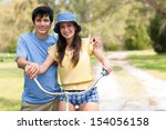young latin man in shorts and... | Shutterstock . vector #154056158