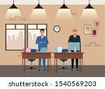 businessmen partners working at ... | Shutterstock .eps vector #1540569203