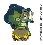 cartoon wicked witch at night... | Shutterstock .eps vector #154069880