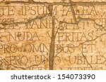 cracked wall with latin... | Shutterstock . vector #154073390
