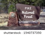 Colorado Springs, Colorado / USA March 30th, 2017. Pike National Forest sign by the U.S. Department of Agriculture.  - stock photo