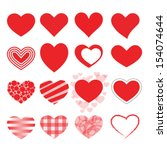 set of red vector hearts icons. | Shutterstock .eps vector #154074644