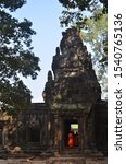Small photo of Siam Reap / Cambodia - 03 23 2015: Monks Pilgrimage At Angkor Wat. Enjoying The Scenes Of Angkor Wat, Siam Reap, Cambodia
