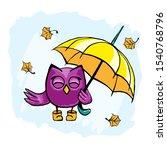 Vector Cute Happy Purple Owl I...