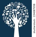 social network icons over blue... | Shutterstock .eps vector #154087058