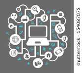 advanced technology over gray... | Shutterstock .eps vector #154087073