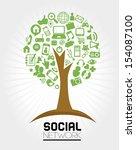 social network icons over gray... | Shutterstock .eps vector #154087100