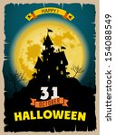 halloween party. old poster...   Shutterstock .eps vector #154088549