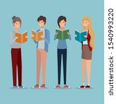 group of students reading books ... | Shutterstock .eps vector #1540993220
