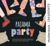 pajama party poster with fun... | Shutterstock .eps vector #1541055473