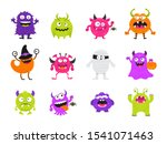 colorful cute scary halloween... | Shutterstock .eps vector #1541071463