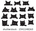 set of black cats looking out... | Shutterstock .eps vector #1541148263