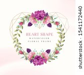 heart shape watercolor floral... | Shutterstock .eps vector #1541172440