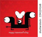 cute monster with heart   Shutterstock .eps vector #154124168