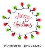 christmas lights wreath... | Shutterstock .eps vector #1541253260