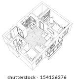 modern interior drawing | Shutterstock .eps vector #154126376