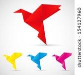 origami birds | Shutterstock .eps vector #154127960
