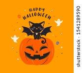 happy halloween greeting card... | Shutterstock .eps vector #1541289590