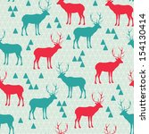 seamless pattern with deer  | Shutterstock .eps vector #154130414