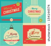christmas retro style greeting... | Shutterstock .eps vector #154144574