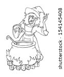wicked witch and her pot ... | Shutterstock .eps vector #154145408