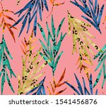 seamless leaves and leopard... | Shutterstock . vector #1541456876
