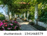 The pergola full of flowers at the gardens of Villa San Michele in Capri, built by Swedish physician Axel Munthe, Italy