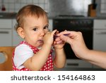 little baby girl is hungry ... | Shutterstock . vector #154164863