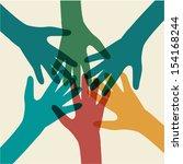team symbol. multicolored hands | Shutterstock .eps vector #154168244