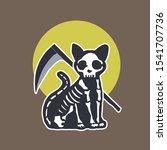 skeleton halloween cat. cute...   Shutterstock . vector #1541707736