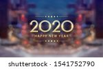 golden happy new year 2020 with ... | Shutterstock .eps vector #1541752790