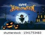 happy halloween scarecrow... | Shutterstock .eps vector #1541753483