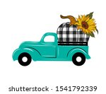 Turquoise Truck With Buffalo...