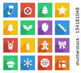 bright flat christmas icons... | Shutterstock .eps vector #154181048