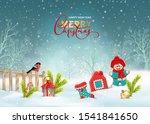 christmas winter scene. vector... | Shutterstock .eps vector #1541841650